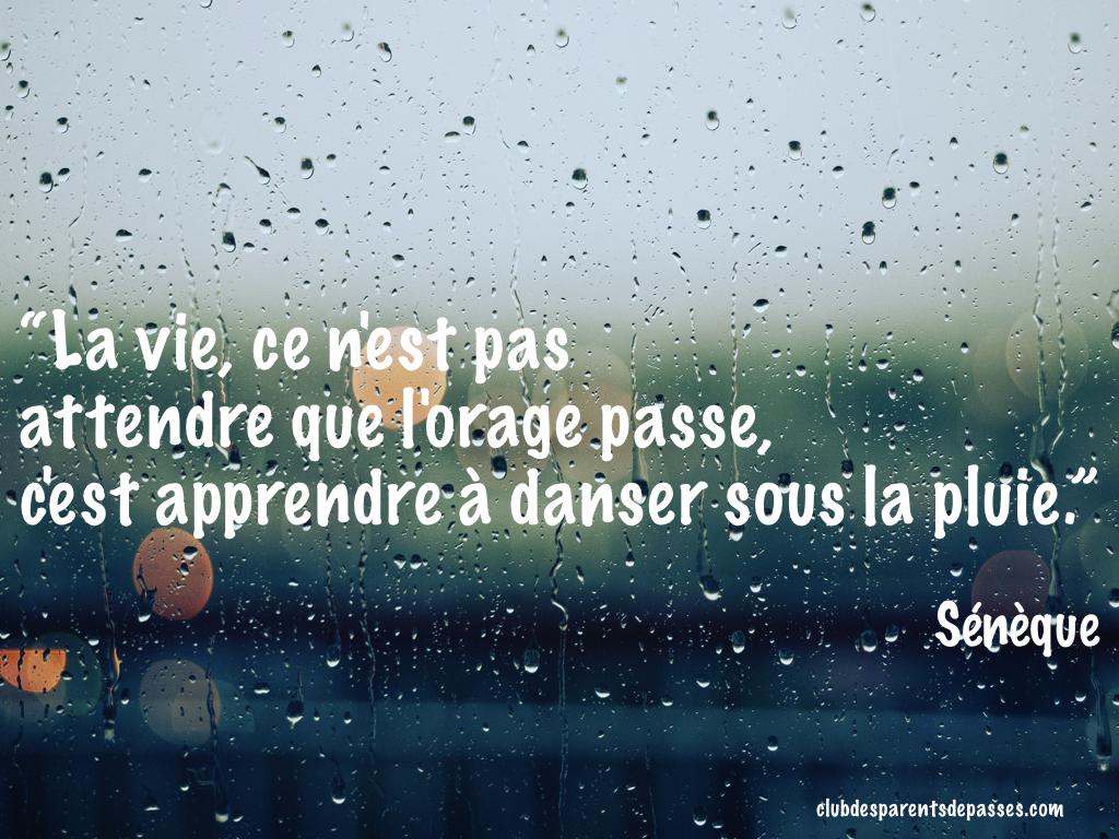 La vie de n'est pas d'attendre que l'orage passe, c'est apprendre à danser sous la pluie - Sénèque