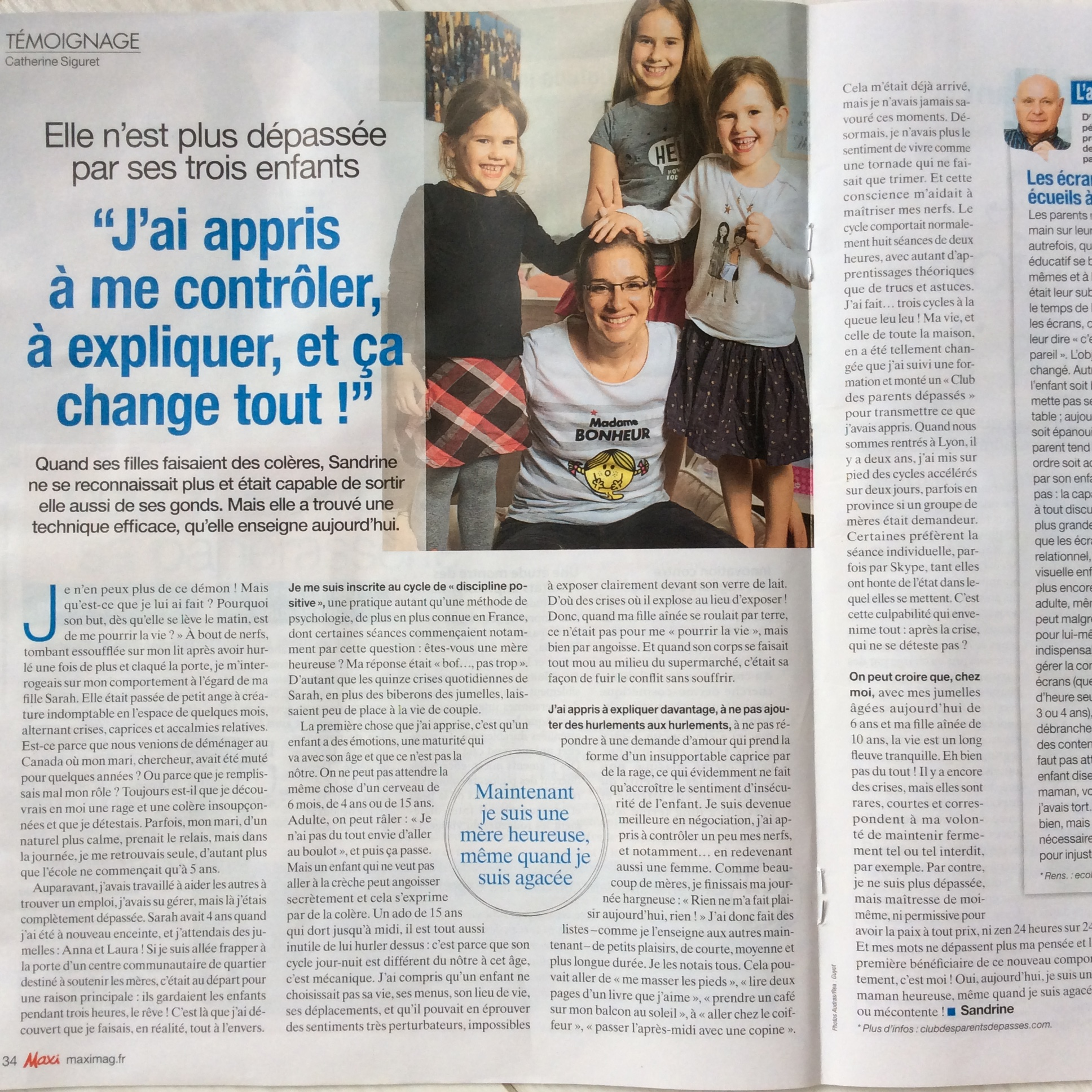 Burn-out maternel. Parents dépassés. Discipline positive lyon. Sandrine Franceschi. Magazine Maxi